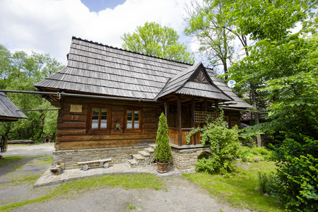 approx: ZAKOPANE, POLAND - JUNE 11, 2015: The traditional bicameral house built approx. year 1850 by Jan Gasienica nicknamed Nawsie, the building included on the list of architectural monuments