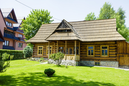 approx: ZAKOPANE, POLAND - JUNE 13, 2015: The hut built of wood approx. 1907, listed in the municipal register of architectural heritage