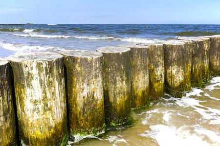 breakwaters: Wooden breakwaters at the sea beach in city of Kolobrzeg in Poland