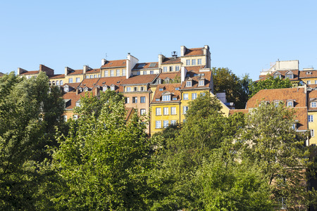 townhouses: WARSAW, POLAND - AUGUST 18, 2015: Townhouses of the Old Town, originally came from the 15th to the 19th century, destroyed during World War II, then in the majority they have been reconstructed Editorial