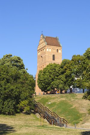 visitation: WARSAW, POLAND - AUGUST 18, 2015: The bell tower were built to the church of the Visitation of the Blessed Virgin Mary in 1518, the church itself was built in 1411, rebuilt after the war in 1947-1966 Editorial