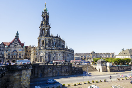 elector: DRESDEN, GERMANY - SEPTEMBER 19, 2015: Cathedral of the Holy Trinity, former church of Royal Court of Saxony, the church was commissioned by Augustus III, Elector of Saxony and King of Poland