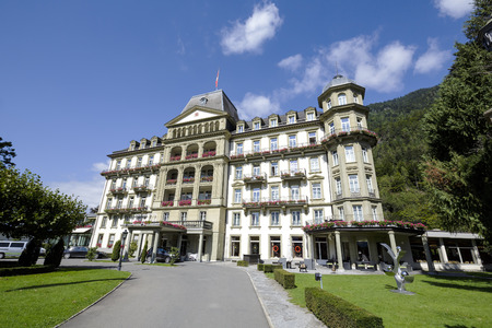 appointed: INTERLAKEN, SWITZERLAND - SEPTEMBER 07, 2015: Five star Lindner Grand Hotel Beau Rivage renovated in the past few years offers 101 elegantly appointed, comfortable rooms, located nearby city center