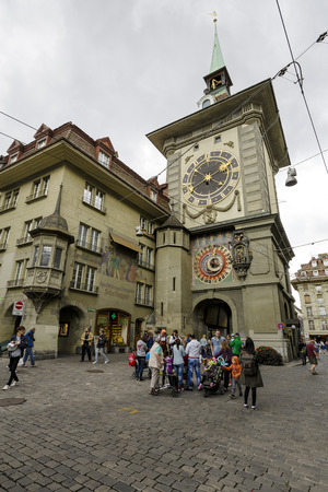 significance: BERN, SWITZERLAND - SEPTEMBER 05, 2015: The east front of the Clock Tower 1191-1256, Zytglogge, Swiss Cultural Property of National Significance located at the end of the Kramgasse in Old City