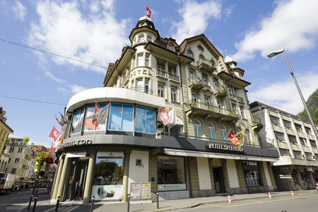 interlaken: INTERLAKEN, SWITZERLAND - SEPTEMBER 07, 2015: Three star The Splendid Hotel offers standard facilities and 35 guest rooms are equipped with modern amenities, located nearly in the heart of the city