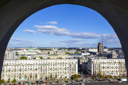 municipal editorial: WARSAW, POLAND - SEPTEMBER 30, 2015: Aerial view through window on the downtown of the capital city of Poland, with the population of about 1.8 million residents, area of approx. 517 square kilometers