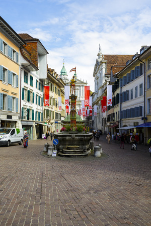 approx: SOLOTHURN, SWITZERLAND - SEPTEMBER 16, 2015: Cityscape of the city, with the population of approx. 16.500 citizens it is the capital of the Canton of Solothurn, it is popular tourist destination