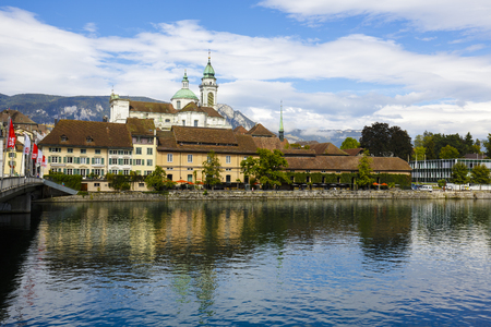 approx: SOLOTHURN, SWITZERLAND - SEPTEMBER 16, 2015: Cityscape of the city, with the population of approx. 16500 citizens, it is the capital of the Canton of Solothurn, it is popular tourist destination Editorial
