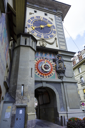 significance: BERN, SWITZERLAND - SEPTEMBER 06, 2015: The east front of the Clock Tower 1191-1256, Zytglogge, Swiss Cultural Property of National Significance located at the end of the Kramgasse in Old City Editorial