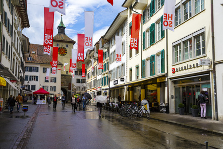 approx: SOLOTHURN, SWITZERLAND - SEPTEMBER 16, 2015: Cityscape of the city, with the population of approx. 16500 citizens it is the capital of the Canton of Solothurn, it is popular tourist destination