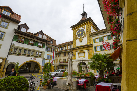 back gate: MORAT, SWITZERLAND - SEPTEMBER 15, 2015: The Bern Gate dates back to 1239, todays gate Berntor was built by architect Niklaus Hebler in the 2nd half of the 18th century Editorial