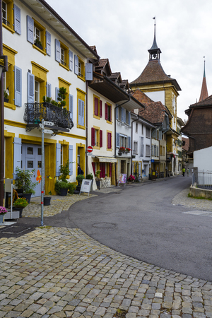 approx: MORAT, SWITZERLAND - SEPTEMBER 15, 2015: Picturesque street in the old town of Morat Murten with a population of approx. 6500 citizens. German and French linguistic region Editorial