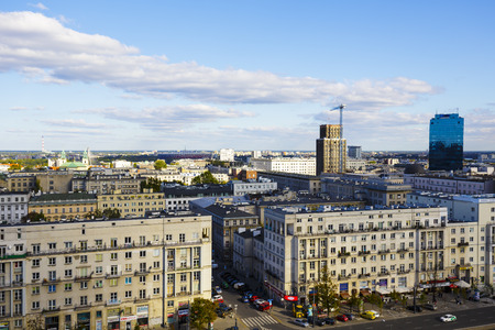municipal editorial: WARSAW, POLAND - SEPTEMBER 30, 2015: Aerial view of the downtown of the capital city of Poland, with the population of about 1.8 million residents, area of approx. 517 square kilometers Editorial
