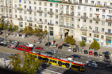 municipal editorial: WARSAW, POLAND - SEPTEMBER 30, 2015: Aerial view to Marszalkowska Street, seen as a main street of the downtown, in 1770 its name was officially considered