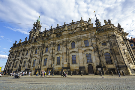 commissioned: DRESDEN, GERMANY - SEPTEMBER 19, 2015: Cathedral of the Holy Trinity, former church of Royal Court of Saxony, the church was commissioned by Augustus III, Elector of Saxony and King of Poland