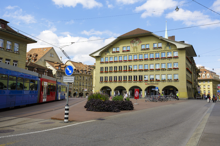pharma: BERN, SWITZERLAND - SEPTEMBER 06, 2015: Building housed Alpen Pharma Group, found in 1997, it produce and propagate medicinal products, its sphere of influence extends to the area of Asia and Europe Editorial