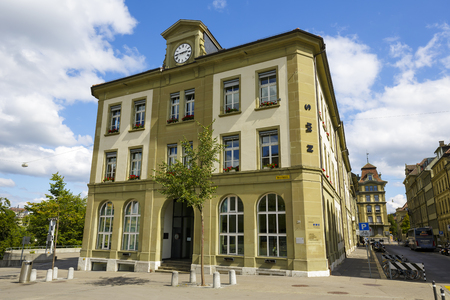 secondary school: BERN, SWITZERLAND - SEPTEMBER 06, 2015: The Main Building of the private secondary school for students aged 13 to 16. This school is called NMS Bern, located at Waisenhausplatz