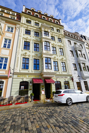 DRESDEN, GERMANY - SEPTEMBER 20, 2015: Five-Star Superior Hotel Suitess offers 21 elegant rooms and 4 apartments, luxurious atmosphere, location directly in the heart of the city