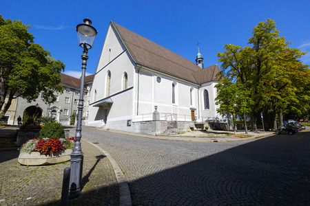 16 years: SOLOTHURN, SWITZERLAND - SEPTEMBER 16, 2015: Franciscan church Franziskanerkirche, christian catholic church, after the reconstruction held in the years 1823-1825 obtained its current appearance