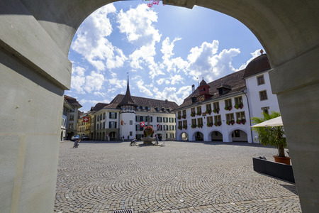 guild hall: THUN, SWITZERLAND - SEPTEMBER 08, 2015: Former guild house, now the Hotel Krone located on The Town Hall Square, the name comes from the town hall built in 1500, it is the historic center of the city