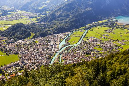 interlaken: Aerial view towards town of Interlaken and Aare river