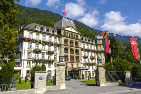 interlaken: INTERLAKEN, SWITZERLAND - SEPTEMBER 07, 2015: Five star Lindner Grand Hotel Beau Rivage renovated in the past few years offers 101 elegantly appointed, comfortable rooms, located nearby city center