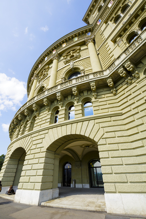 housed: BERN, SWITZERLAND - SEPTEMBER 11, 2015: The Federal Palace, it is the seat of Federal Parliament Swiss Federal Assembly, The Federal Council is housed here as well Editorial