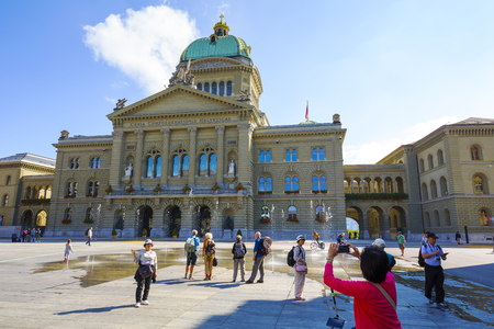 housed: BERN, SWITZERLAND - SEPTEMBER 13, 2015: The Federal Palace, it is the seat of Federal Parliament Swiss Federal Assembly, The Federal Council is housed here as well