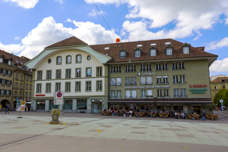 BERN, SWITZERLAND - SEPTEMBER 06, 2015: Townhouse at the Waisenhausplatz Orphanage Plaza, located in the medieval city center of Bern, it is the fourth most populous city in Switzerland