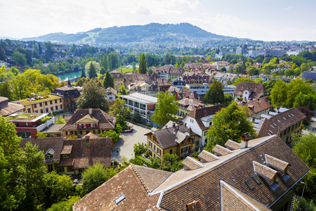 approx: BERN, SWITZERLAND - SEPTEMBER 11, 2015: Cityscape view of the city. Bern with a population of approx. 140000 citizens it is the fourth most populous city in Switzerland