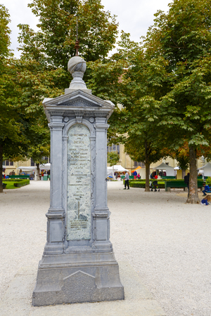 instigation: BERN, SWITZERLAND - SEPTEMBER 05, 2015: Column indicating constants geographic data for Bern, was created at the instigation of the Natural History Society of Berns built in 1873 Editorial