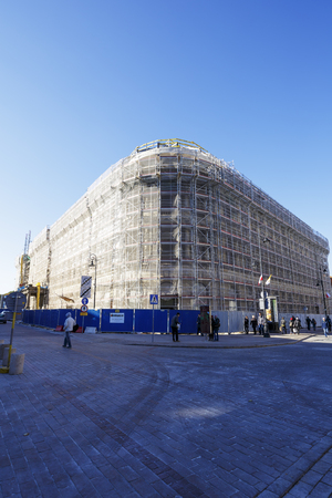refurbishment: WARSAW, POLAND - OCTOBER 10, 2015: Europejski Hotel formerly known as Hotel dEurope built in the years 1855 to 1878. After an ownership change in 2012 the building is undergoing major refurbishment Editorial