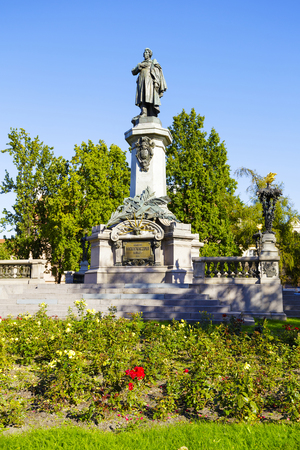 municipal editorial: WARSAW, POLAND - OCTOBER 10, 2015: Adam Mickiewicz statue by Cyprian Godebski unveiled on December 24, 1898, removed in 1942 by the Germans, once again unveiled January 28, 1950 Editorial