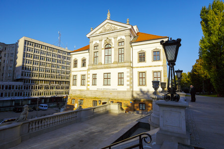 fryderyk chopin: WARSAW, POLAND - OCTOBER 10, 2015: Ostrogski Palace of the 17th century, burnt down by Germans during World War II, rebuilt in 1953, nowadays the Fryderyk Chopin Museum