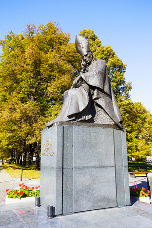 primate: WARSAW, POLAND - OCTOBER 10, 2015: Statue of Cardinal Primate Stefan Wyszynski, unveiled on May 27, 1987. Stefan Wyszynski was the Primate of Poland from 1948 to 1981