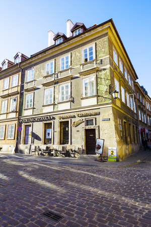 WARSAW, POLAND - OCTOBER 10, 2015: Tenement of Kalinski family. It was destroyed during the Warsaw Uprising in 1944, restored in 1950-54. It houses a famous confectionery store named Podkomorzanka