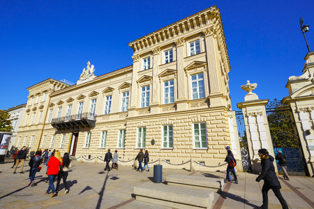 municipal editorial: WARSAW, POLAND - OCTOBER 10, 2015: The Palace Uruskich, Czetwertynskich built between 1844-1847, designed by Andrzej Golonski, seen after a recent renovation