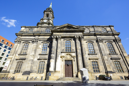 church architecture: DRESDEN, GERMANY - SEPTEMBER 19, 2015: Church of the Holy Cross, the main church of Evangelical-Lutheran, the largest church in Saxony, founded as the Nikolaikirche Church of St. Nicholas in 1215