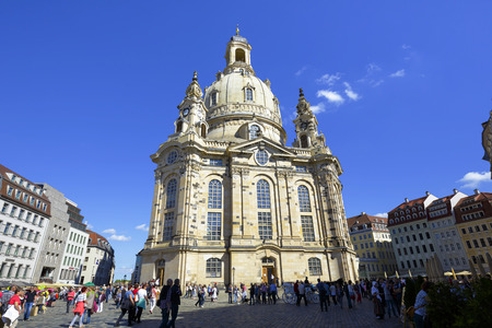 allied: DRESDEN, GERMANY - SEPTEMBER 19, 2015: Church of Our Lady. The Lutheran baroque church located on Dresdens Neumarkt, seriously damaged by the Allied bombing in 1945, reconstructed in 1994-2005