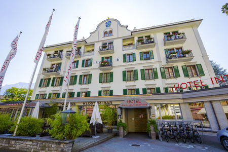 interlaken: INTERLAKEN, SWITZERLAND - SEPTEMBER 07, 2015: Hotel Interlaken dates back to the 14th century. In 1491 the house was restored and got his own coat of arms, after recent restoration offers 61 rooms