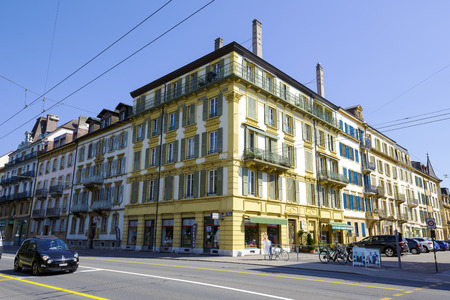 tenement buildings: NEUCHATEL, SWITZERLAND - SEPTEMBER 09, 2015: Urban scene of architecture, view of residential buildings in the city with a population of approx. 34000 mainly French-speaking citizens