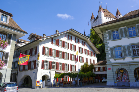 refurbished: THUN, SWITZERLAND - SEPTEMBER 08, 2015: Hotel Restaurant Zunfthaus zu Metzgern offers 10 guest rooms, was refurbished in late 2013 located at the Town Hall square