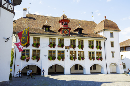 THUN, SWITZERLAND - SEPTEMBER 08, 2015: The Town Hall Rathaus building was built around 1500, the current building dates back to 1685, the current appearance received after total renovation in 1964