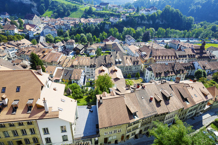 linguistic: FRIBOURG, SWITZERLAND - SEPTEMBER 10, 2015: The capital city of the canton of Fribourg, located on both sides of the river Sarine which shares two linguistic regions between German and French cultures
