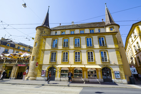 approx: NEUCHATEL, SWITZERLAND - SEPTEMBER 09, 2015: Urban scene of architecture, view of historical building in the city with a population of approx. 34000 mainly French-speaking residents