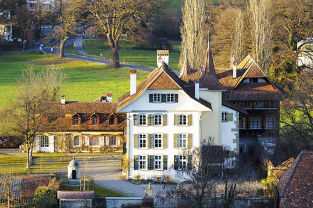 documented: BERN, SWITZERLAND - DECEMBER 25, 2015: Wittigkofen Palace, the first time documented in the 13th century, placed at Murifeld, was originally built as a residence for a farm
