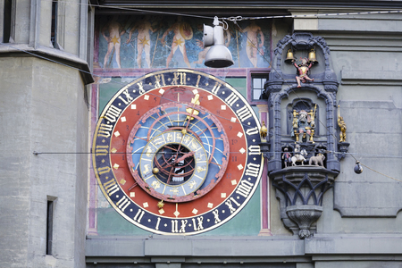 BERN, SWITZERLAND - DECEMBER 22, 2015: The dial of the Zytglogges astronomical clock was refurbished in 1983, it is located on the East front of the Clock Tower 1191-1256
