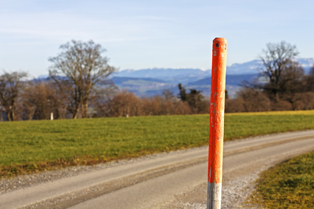 garish: Hiking trail marked with a garish paint on a wooden pole at the dirt road