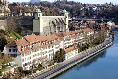 balustrades: BERN, SWITZERLAND - DECEMBER 22, 2015: Muenster platform is a rectangular square located on a slope above the river Aare, surrounded by balustrades made of sandstone and two corner pavilions