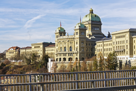 federal: BERN, SWITZERLAND - DECEMBER 22, 2015: The Federal Palace, it is the seat of Federal Parliament Swiss Federal Assembly, The Federal Council is housed here as well Editorial